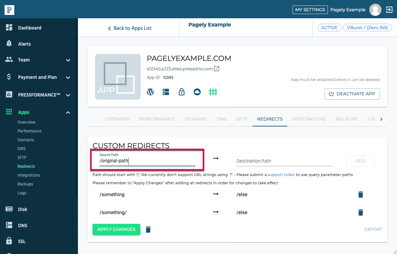 Screenshot: redirect source path filled out