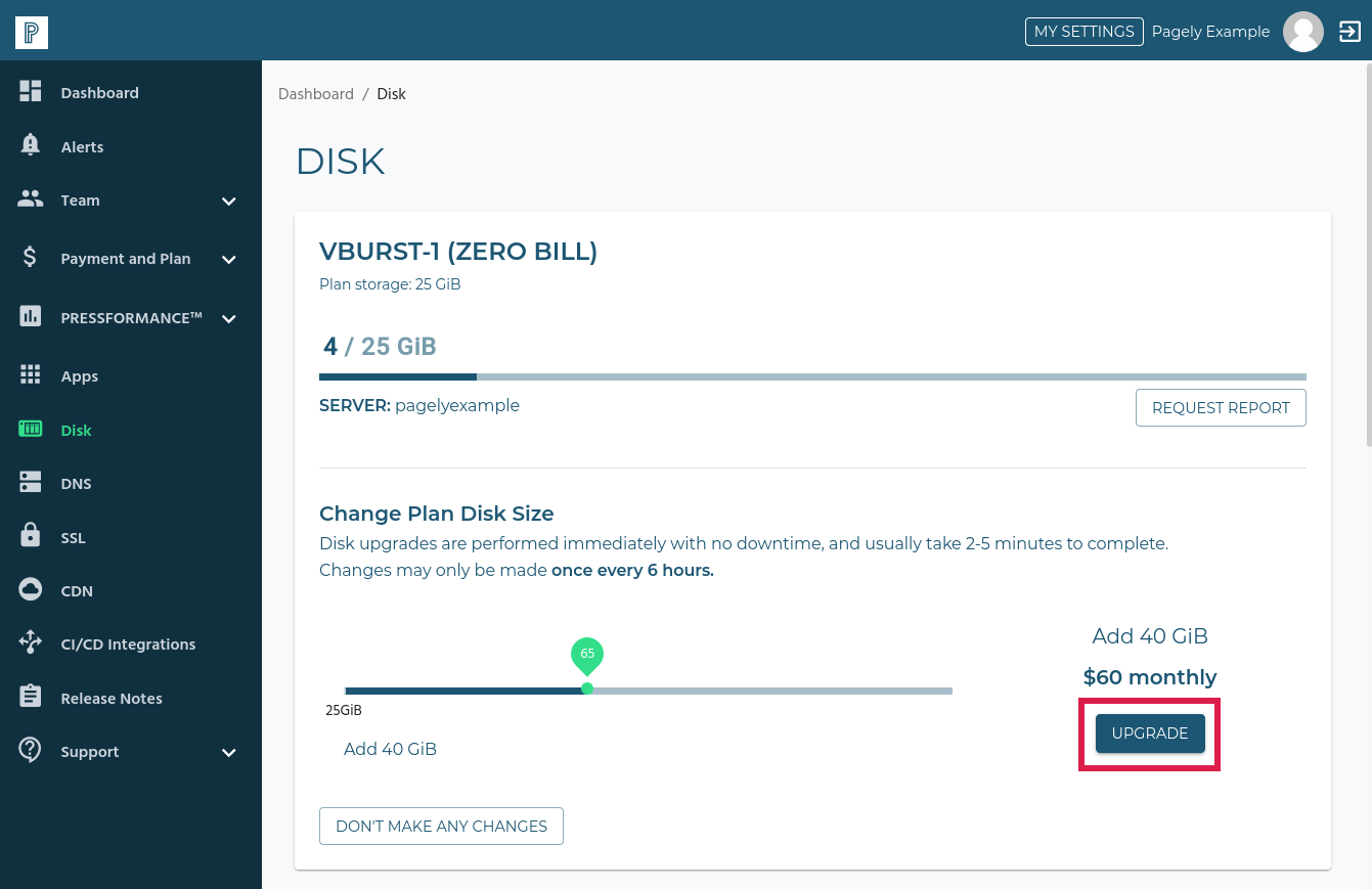 change plan disk size upgrade button