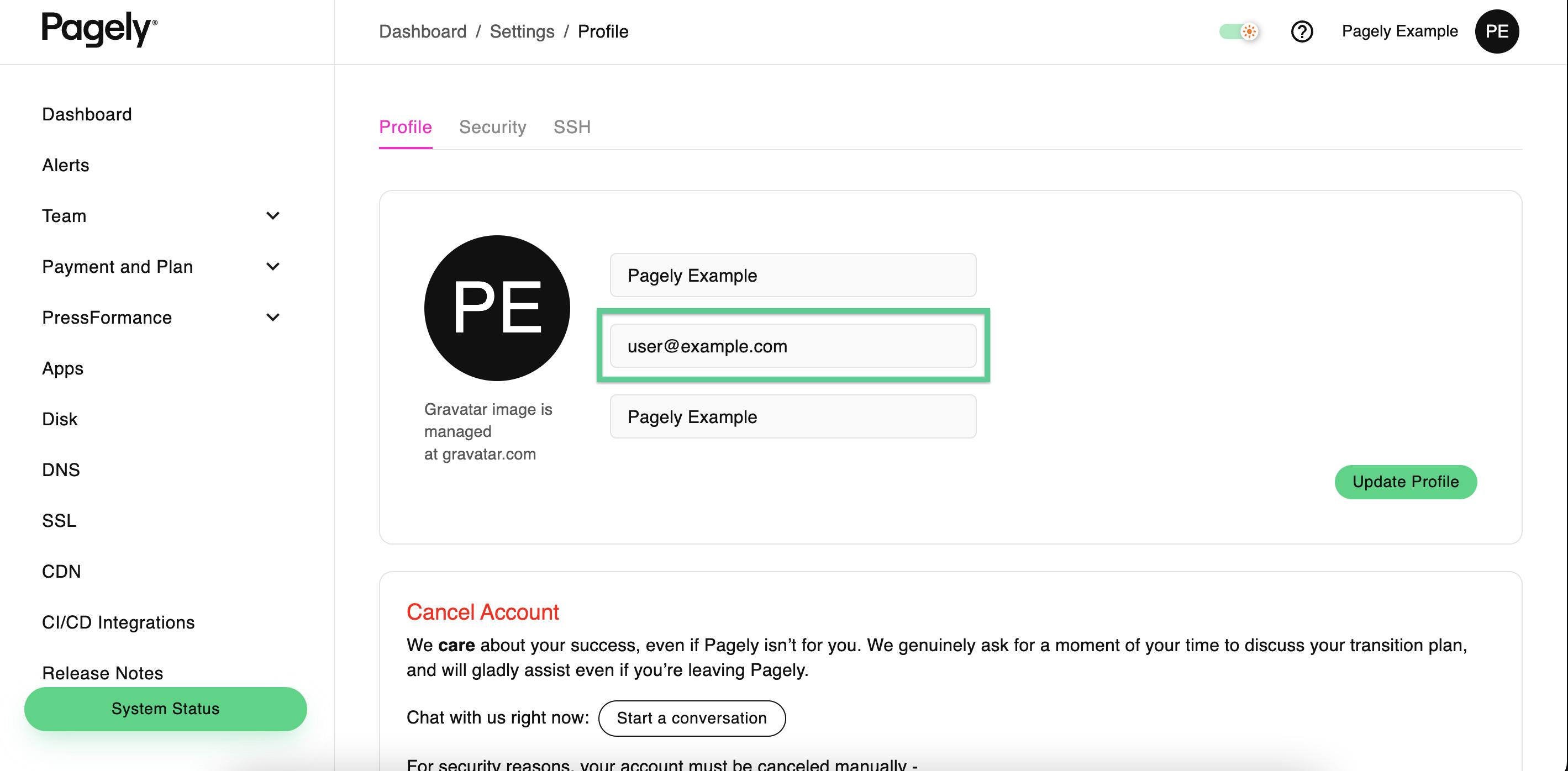 Screenshot: Atomic profile Email field