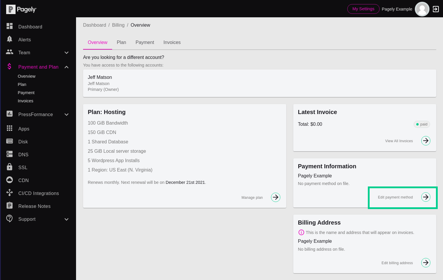 Screenshot: Click on the Edit Payment Method button