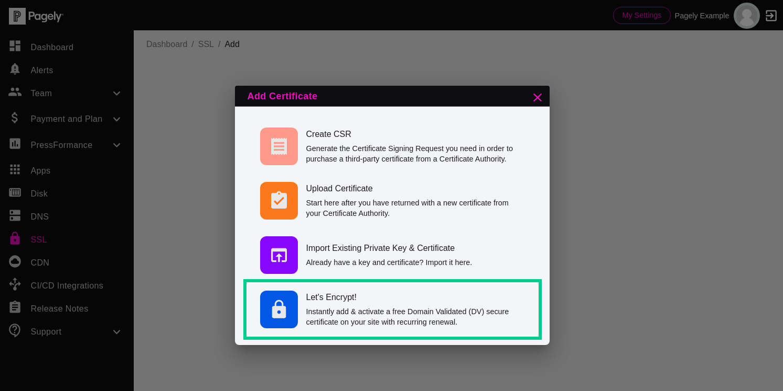 Screenshot: select Let's Encrypt