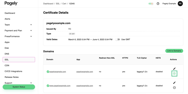 Screenshot: activate SSL cert