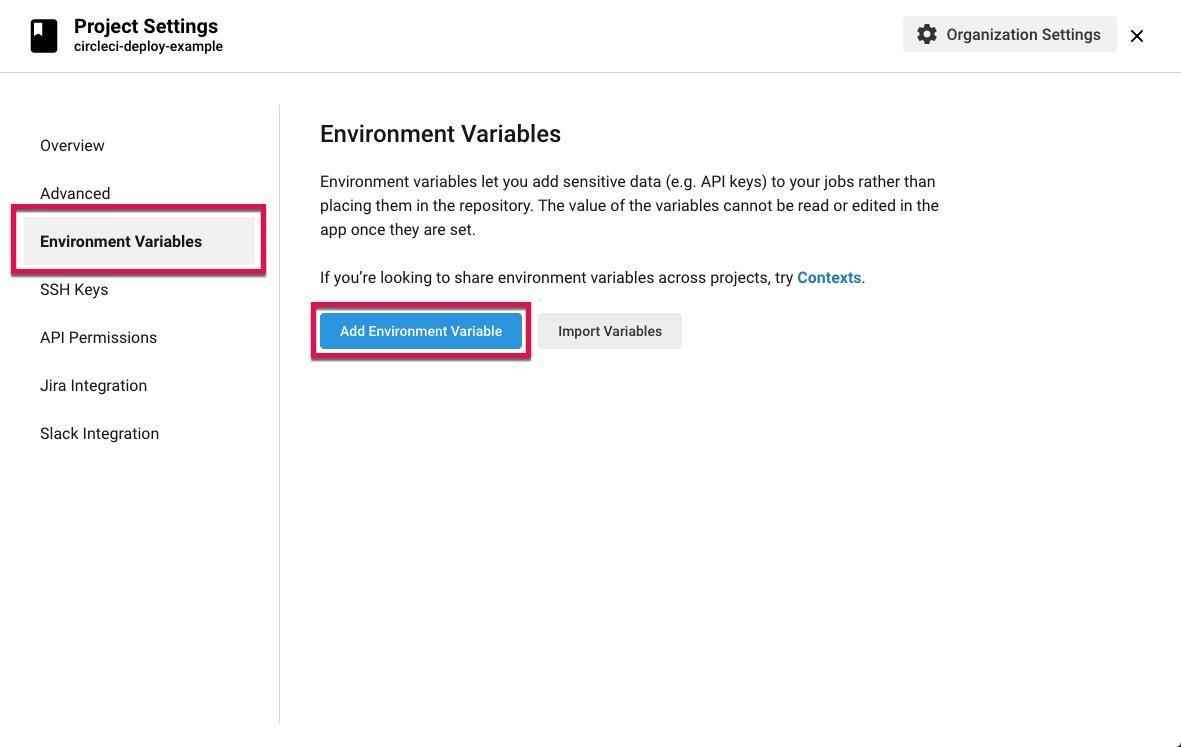 Screenshot: CircleCI project settings add environment variable
