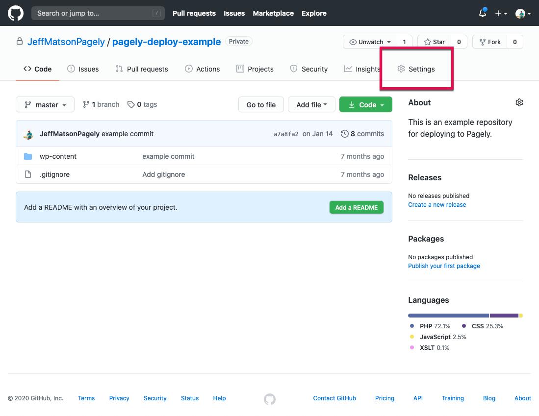GitHub click on Settings