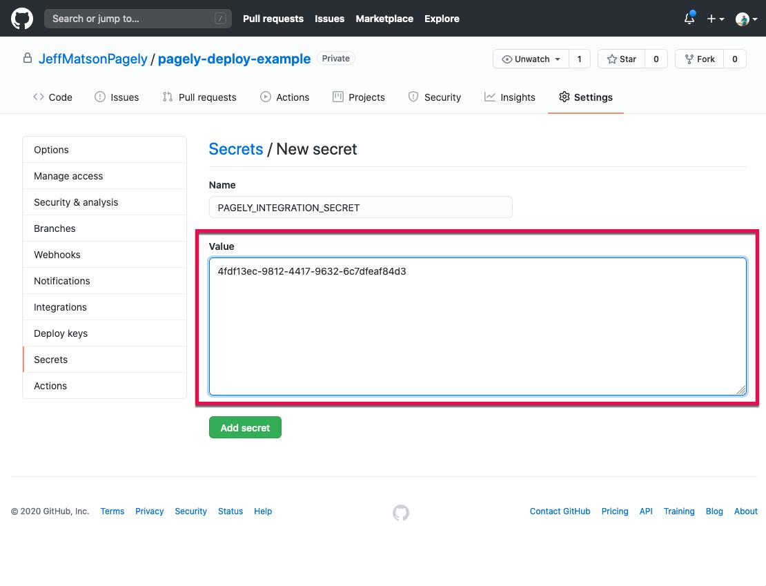 Integration secret variable value in field