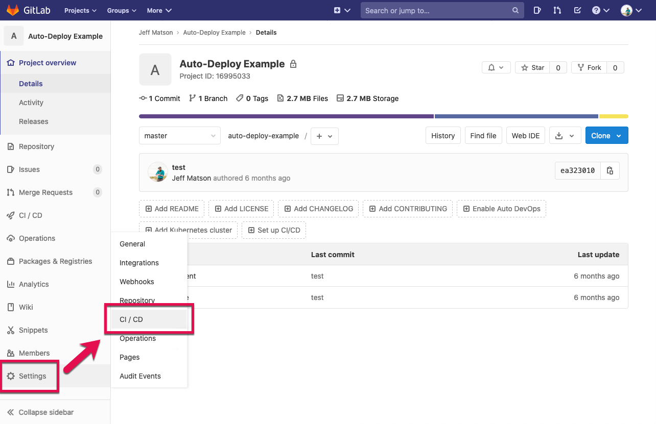 Gitlab hover settings and click on CI/CD