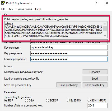 Screenshot: copy openssh key puttygen
