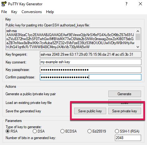 Screenshot: save ssh keys