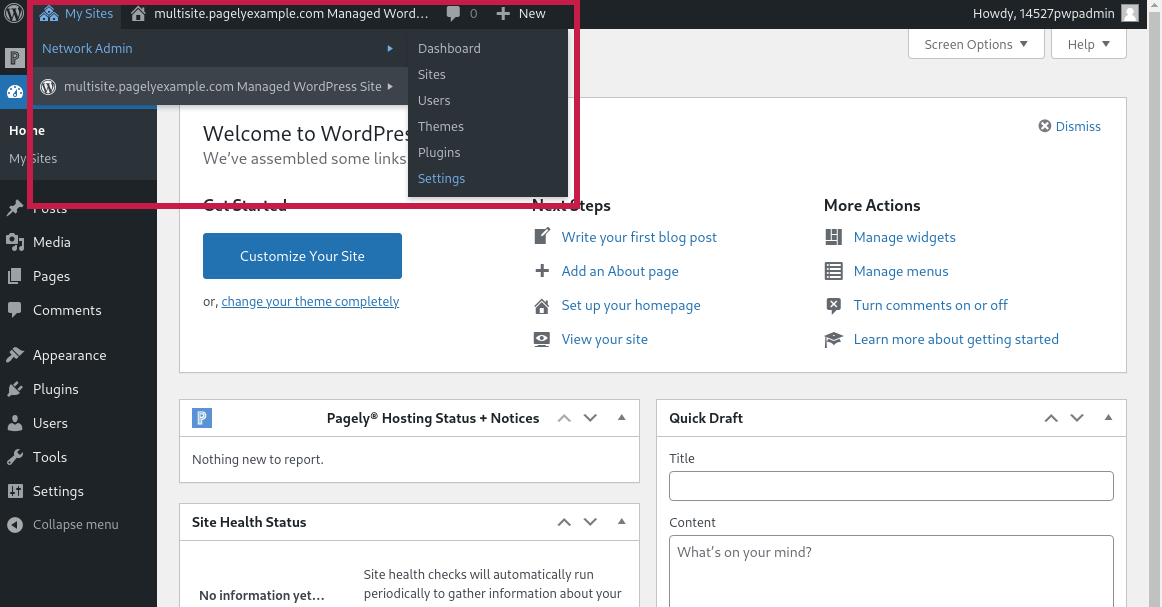 Screenshot: go to your multisite network settings